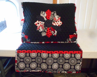 Sewing Machine Cover and Mat -Dresden Plate- Black, White Red, Handmade