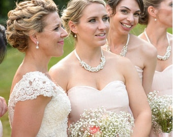 Chunky Pearl and Crystal Bridesmaid Necklace & Earrings Set w/ Ribbon, Swarovski Wedding Necklace, Bridal Pearl and Rhinestone Necklace