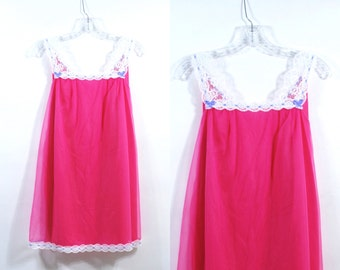 Vintage 50's Vanity Fair Hot Pink and white lace baby doll nightgown lingerie Size S