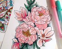 Adult Coloring Book - Floral Tattoo Postcard -  Peony and Magnolia Flowers- 5x7 Cardstock Print