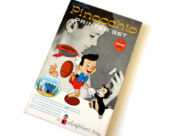 Vintage 1960s Colorforms Walt Disney Pinocchio Printer Set / Stamp Kit with Pinocchio Characters in Box