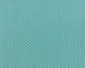 Kindred Spirits Bunny Hill MODA Fabric White Polka Dot Dots on Turquoise Blue 2896 22