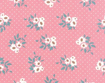 Kindred Spirits Bunny Hill MODA Fabric Medium Flowers Floral Clusters with Polka Dot Dots on Rose Pink 2891 16