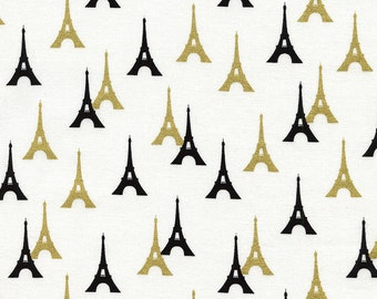 Timeless Treasures Metallic Gold and Black Paris Eiffel Tower Towers Novelty Fabric