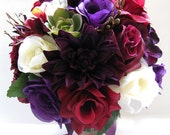 "Reserved listing Wedding Flowers Artificial silk Bouquet 29 piece Package PURPLE PLUM BURGUNDY Succulent Cream  ""RosesandDreams"""