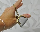 Keychain Tiny Purse Leather Dolphin Grey