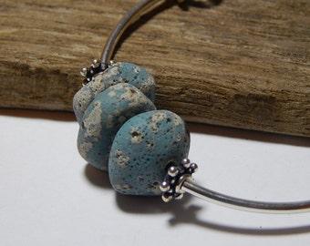 Leland Blue Stone Bracelet,  Beach Stones  Czech Fire Polished Beads Sterling Silver Findings Tube beads Lake Michigan State of Michigan