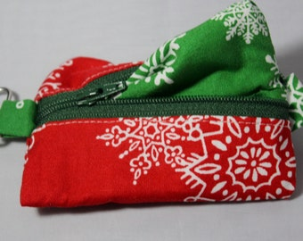 Red and Green Snowflake Notions Pouch