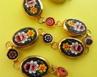 Stunning micro mosaic bracelet - Florentine Italian Art- 1950s vintage Oval Link Bracelet- ART.129/4 -