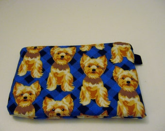 Small Zipper Pouch for Dog Lovers, Yorkshire Terriers, Grab and Go Wallet,  , Ready to Ship