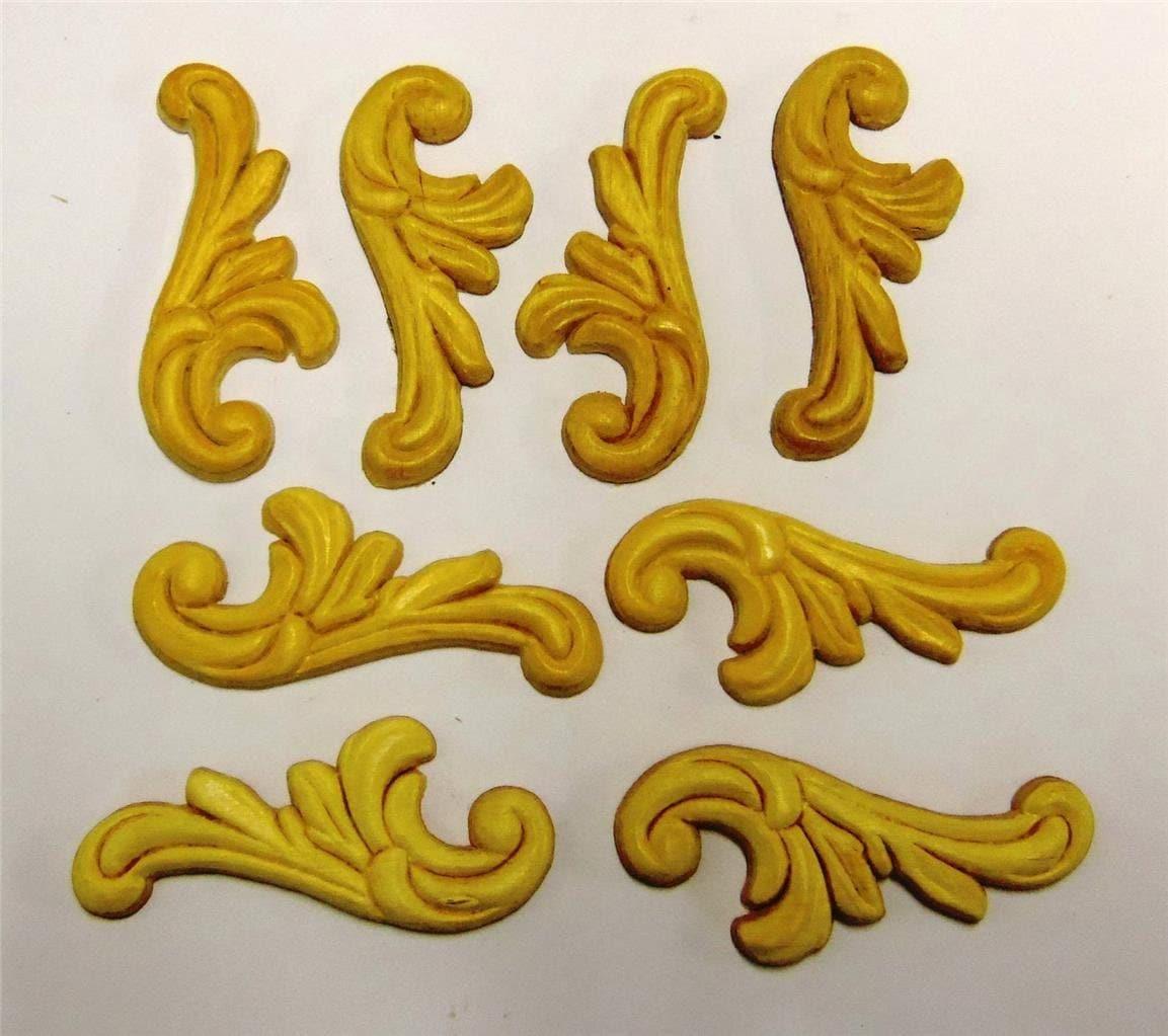 8 Wood Onlays Appliques Embossed Trims Ornaments Pediments