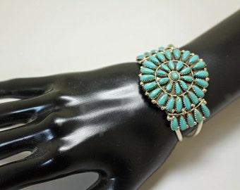 Navajo Silver Turquoise Bracelet Petit Point