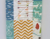 Modern Woodland Baby Quilt-Rustic Organic Birch Fabric-Blue-Mint-Orange-Bear Hike-Elk-Deer-Arrows-Feather River Baby Blanket