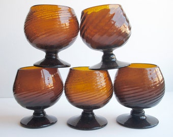 Brown Cocktail Glasses, Handblown Swirl, Boho Tropical Vintage Drinking, Set of 8, Dark Brown, Fall Tableware, Local Pick Up Available
