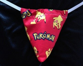 New Sexy Mens Red POKEMON G-String Thong Male Lingerie Underwear