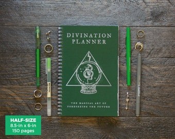 Divination Planner - Green  / Weekly / Half-Size / 12 Months / Choose Your Layout (Vertical or Horizontal) / Pick Your Own Starting Month