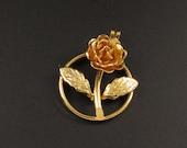 Monet Rose Charm, Flower Charm, Monet Charm, Gold Charm, Floral Charm