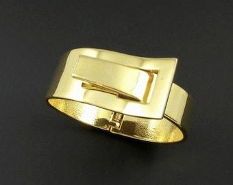 Gold Buckle Bracelet, Gold Buckle Bangle, Statement Bracelet, Modern Bracelet, Gold Clamper Bracelet
