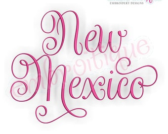 Embroitique New Mexico Calligraphy Fancy Script USA United States Machine Embroidery Design - Instant Download