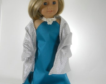 18 inch doll clothes made to fit dolls such as American Girl® doll clothes,  Turquoise Fancy Party Dress, Wrap and Gloves, 09-1358