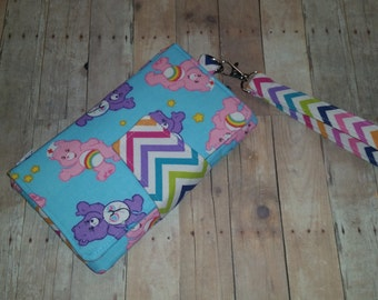 Ready to Ship - CARE BEARS Doctor Nurse Theme with RAINBOW Chevron Wallet Clutch with 8 Credit Card Slots 1 Zipper pouch & 2 Slots for Money