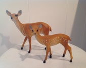 Deer Hard Plastic ~ Made In Hong Kong ~ Vintage Deer No.651 and No. 652 ~ Vintage Christmas Decor ~ Collectible Fawn or Deer ~ Holidays