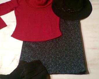 Silver & Black High Waist Pencil Skirt
