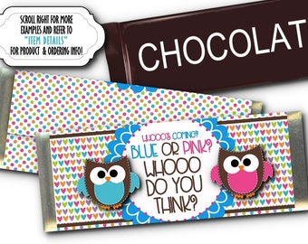 12 Candy Bar Wrappers , Candy Favors, Baby Gender Reveal Party, Baby Shower Favors, Pink & Blue Baby Owls