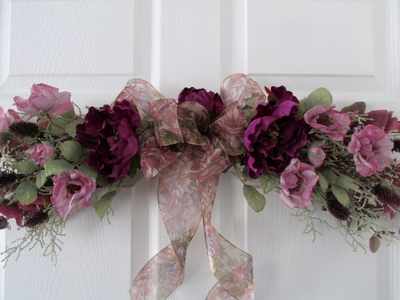 Floral Swag \/ Summer Swag \/ Purple Swag \/ Silk Floral Swag