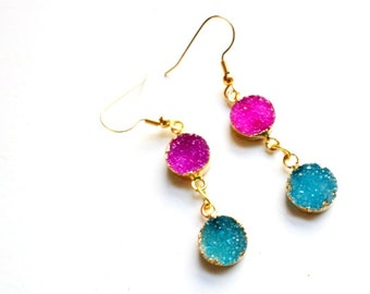 22k gold plated hot pink and turquoise druzy gemstone dangle earrings//druzy//druzy earrings//gold plated//summer style//druzy dangles