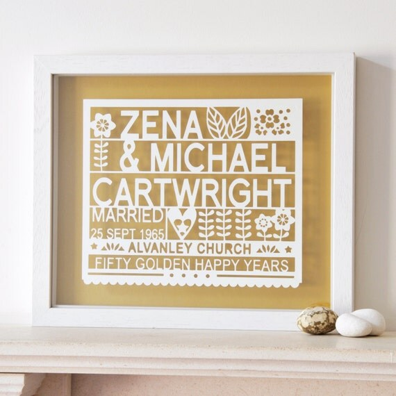 Unique Gifts 50th Wedding Anniversary : Personalized 50th Golden Wedding Anniversary Paper cut Gift Art, gift ...