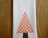 Pink Polka Dot Christmas Tree towel, green ric rac