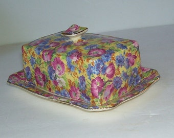 Royal Winton Chintz Covered Royalty Butter Dish, England  Grimwades China Cheese Dish,  Cottage Chic Decor, Vanity Dish, Covered Chintz Dish