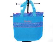 Light Blue Personalized Polka Dot Bag with Name Embroidered on it.  Ruffle Bag. Dance Bag, Swim bag, Book Bag, Princess Bag, Easter Basket