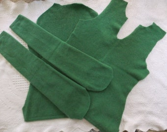 Felted Cashmere Sweater Remnants Green Recycled Wool Fabric Sewing Craft Supplies Projects Upcycle