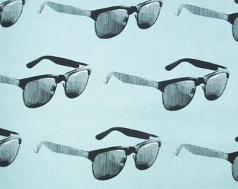 Dapper Prints Sunglasses Mossy Tree Aqua Black Moda Fabric Yard