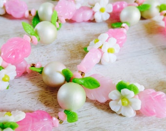 Vintage Plastic Beaded Floral Necklace Long Strand Flower Child Retro