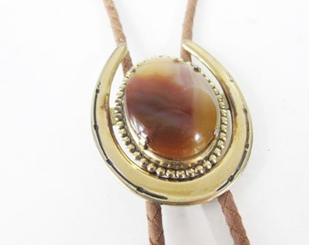 Bolo Tie Necklace Vintage 80s 90s Western Cowboy Necklace Braided Leather Silver Agate Pendant  Bolo Hippie Boho Necklace Rodeo Horseshoe