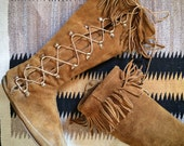 Well-worn vintage Minnetonka tall moccasin boots approximately Women's size 8, suede Indian boots, lace up fringe leather moccasin
