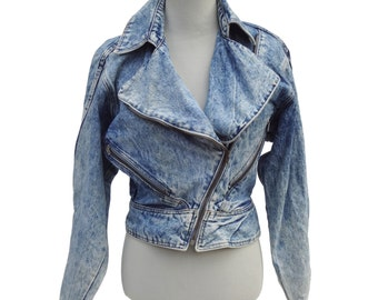 Vintage Prezzia Jeanswear Acid Washed Jean Jacket Classic Womens Sz M (fits S)