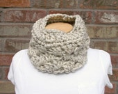Chunky Crochet Cowl Oatmeal Wheat Color Neck Warmer Scarf Fall and Winter Accessories for Women and Teens Cozy Knit Cowl