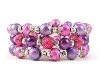 Pink Bracelet, Purple Bracelet, Stacked Bracelets, Clearance Jewelry, Tween Jewelry, Teen Bracelet, Pink and Purple, Bracelet Set