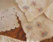 Vintage Linens off White Ecru Cloth Napkins set of 5 Mis Matched Set