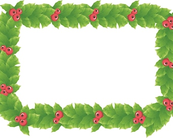 3 Holly Frame Vector-Digital Immediate Download-Clipart-Wreath-Christmas