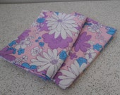 flower power in pink and blue...pair of vintage cotton pillowcases