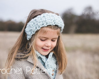 Crochet Pattern | Instant Download | Bulky Headband and Scarf | Child and Adult Sizes Included | Morning Mist by Girl Plus Yarn