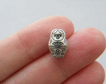 10 Matryoshka nesting doll spacer beads antique silver tone WT51