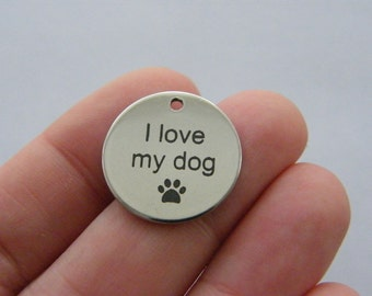 1  I love my dog charm 20mm  stainless steel TAG9-2