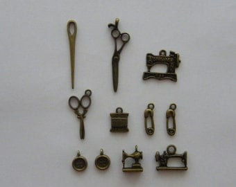 The Needlework Collection - 11 antique bronze tone charms