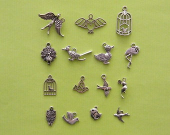 The  Bird Collection - 15 different antique silver tone charms